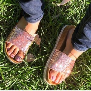 a0d7eaf96de Shoes - 🎀 Rose Gold Espadrilles platform glitter slides